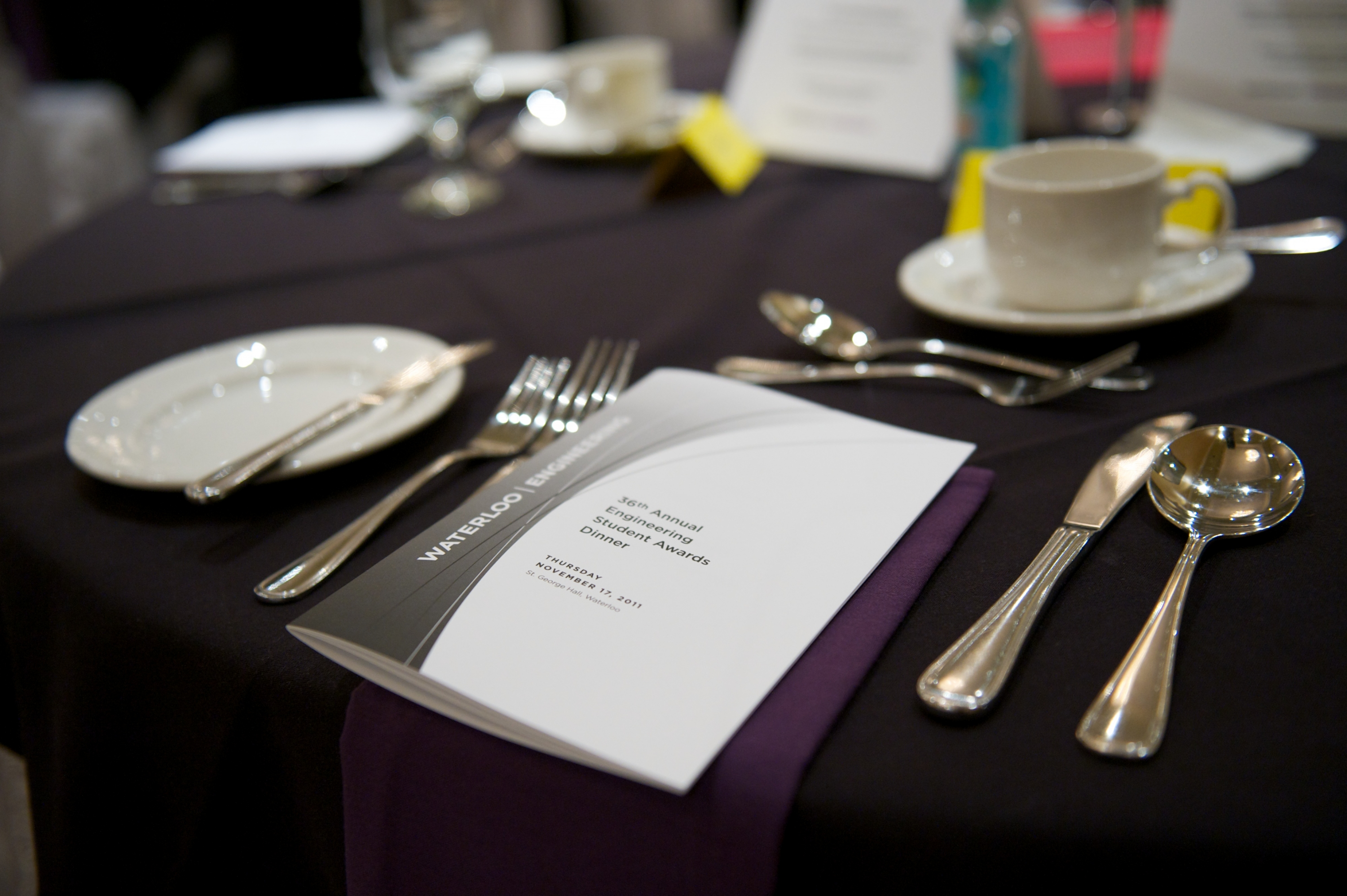 Table setting at the Engineering Student Awards Dinner 2011