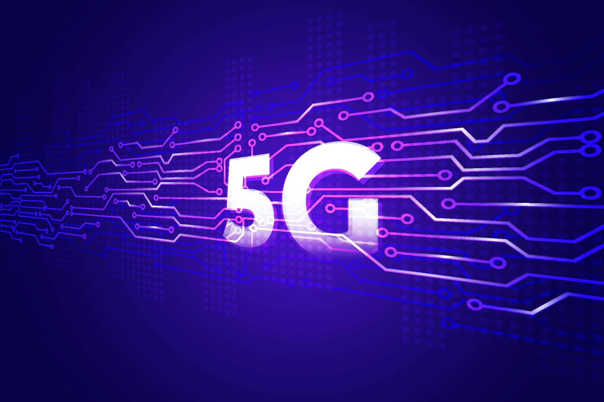 5G graphic purple