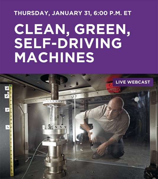 Clean, Green, Self-driving machines webcast Thursday, January 31st