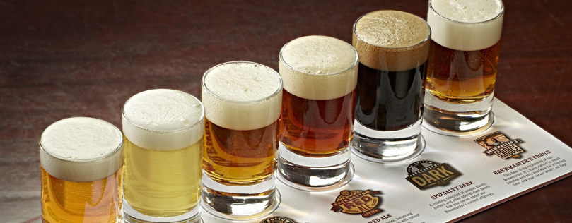 a flight of 6 different craft beers