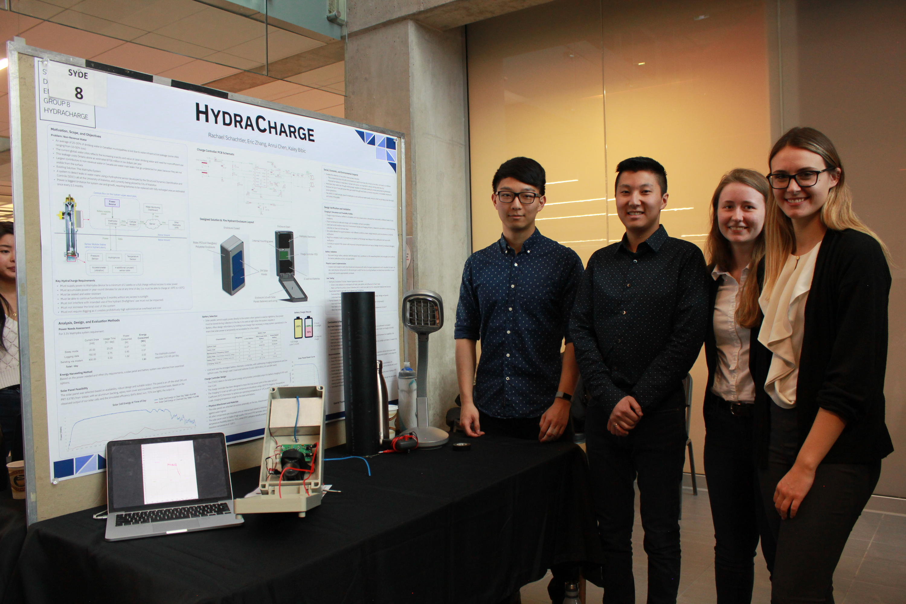 Student team standing beside project table