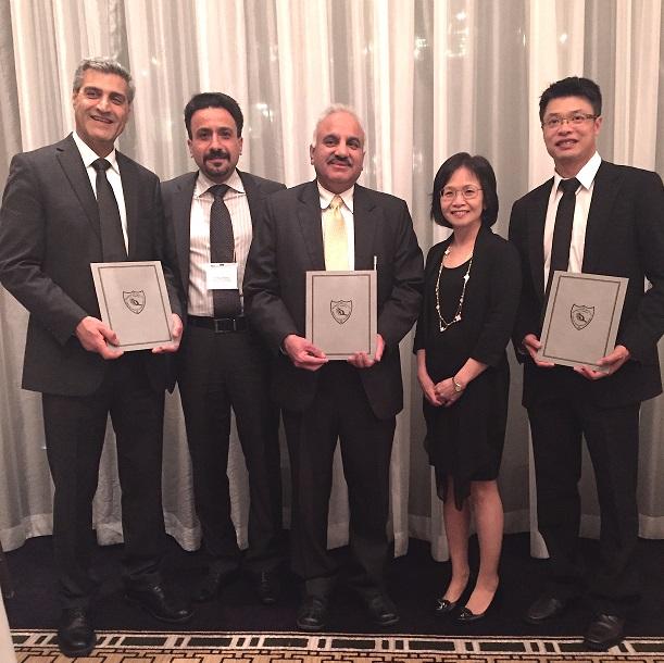 Photo of Amir Khajepou, William Melek, Manoj Sachdev, Pearl Sullivan, John Yeow at EIC Gala