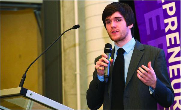 student speaking on mic