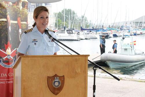 Angela Mondou at harbour podium
