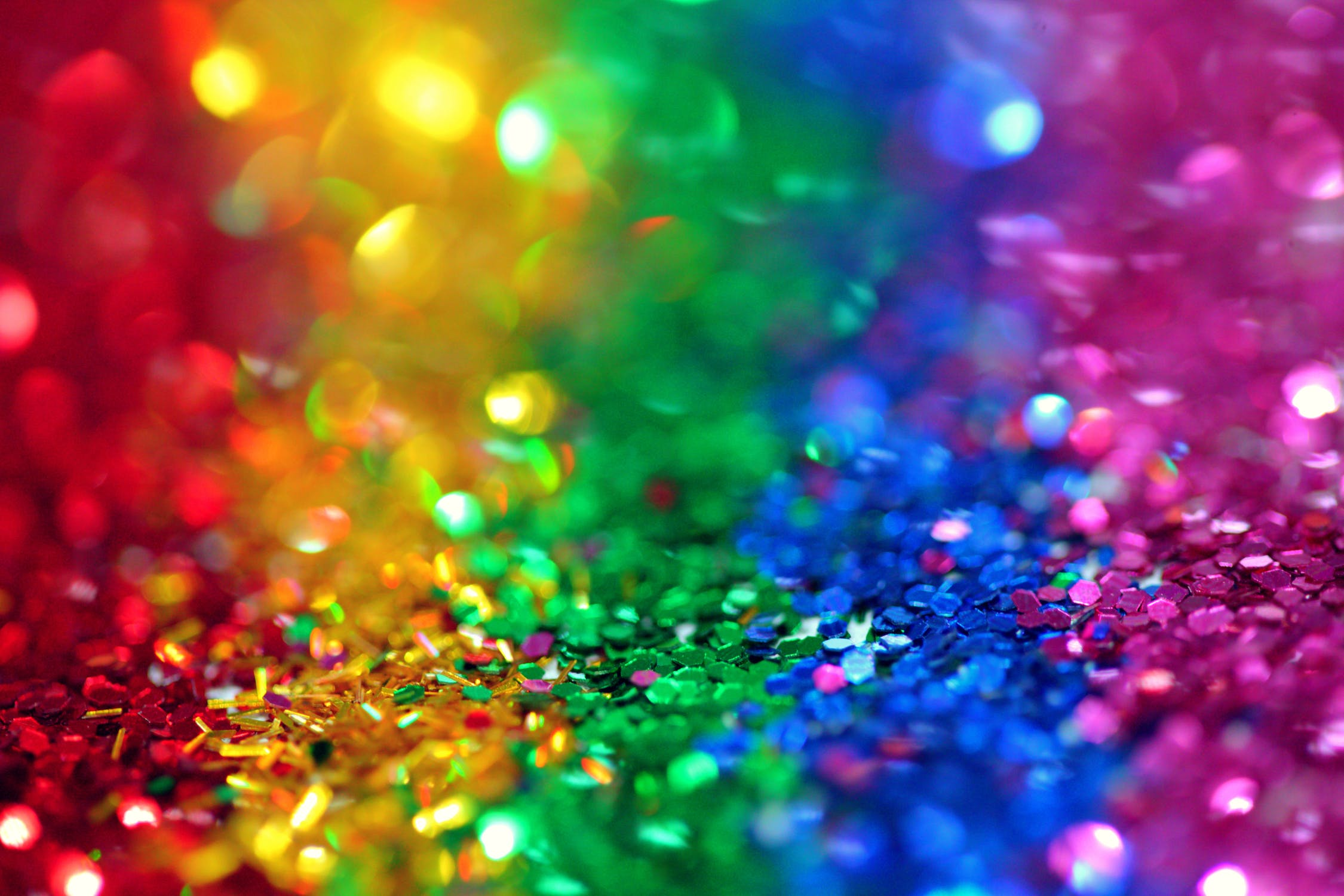 Sparkle flacks in rainbow colours