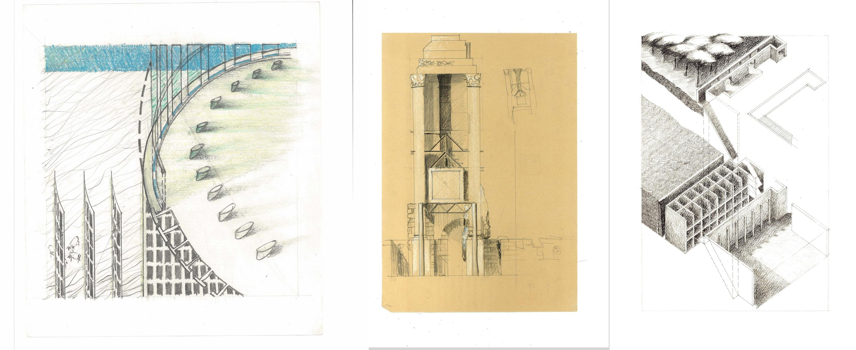 Sketches by Waterloo Architecture graduates Alison Brooks, Howard Sutcliffe and Lisa Rapoport completed during their Rome terms.