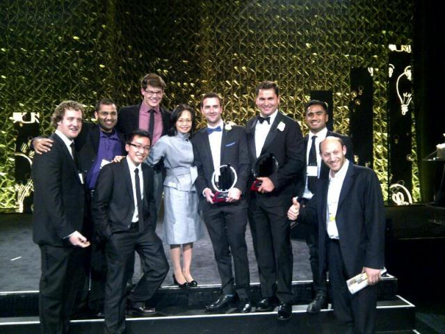 Dr. Pearl Sullivan, Dean of Waterloo Engineering with Award winners and entrepreneurs