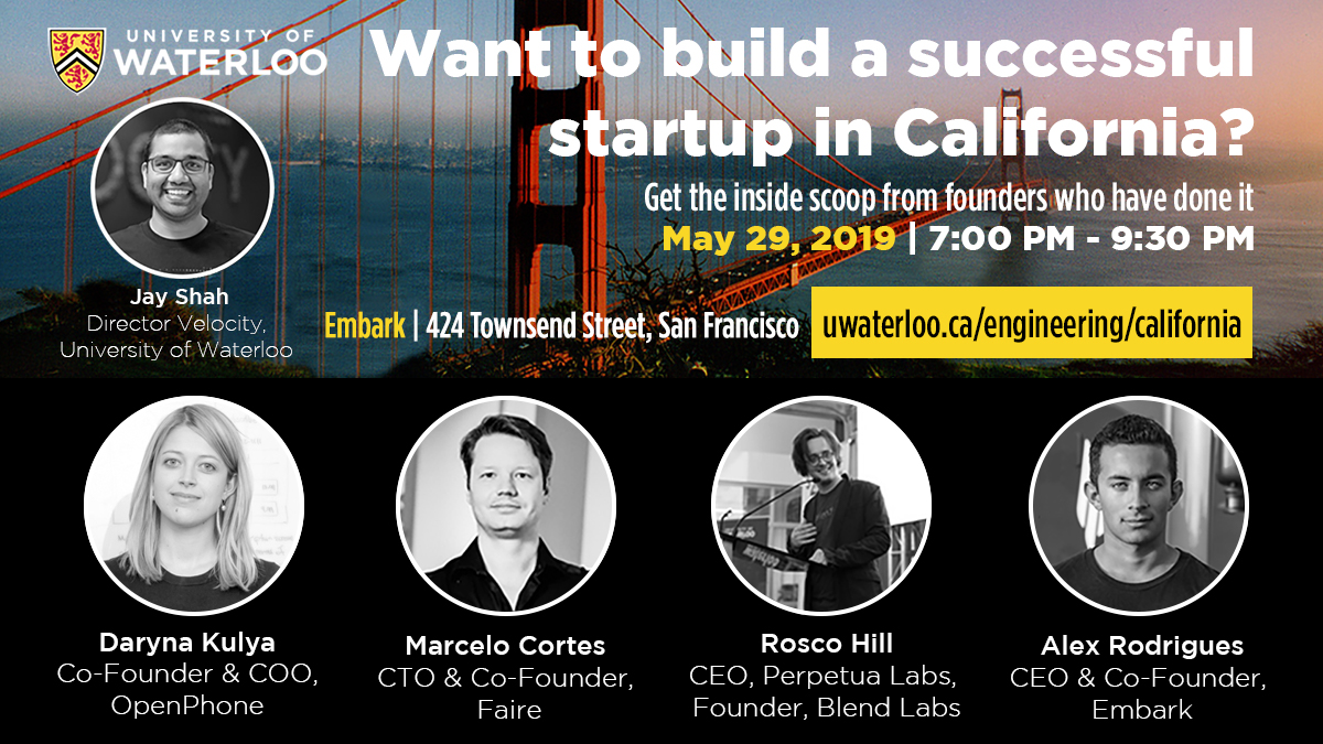 Event advertisement with headshots of guest speakers and Golden Gate Bridge background