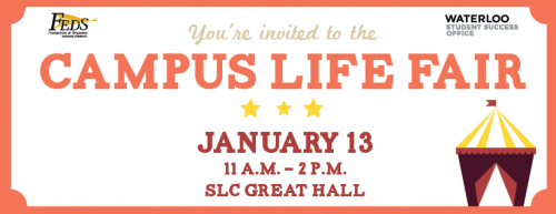 Campus Life Fair date, time, and location information with a cartoon picture of a circus tent