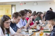 Students in renison cafeteria