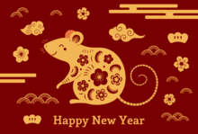 Happy New Year with a mouse smiling with flowers and clouds near it