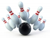 bowling pins and ball