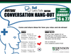 this is a flyer about the conversation hangout that will revolve around Bell Let's Talk day and mental health