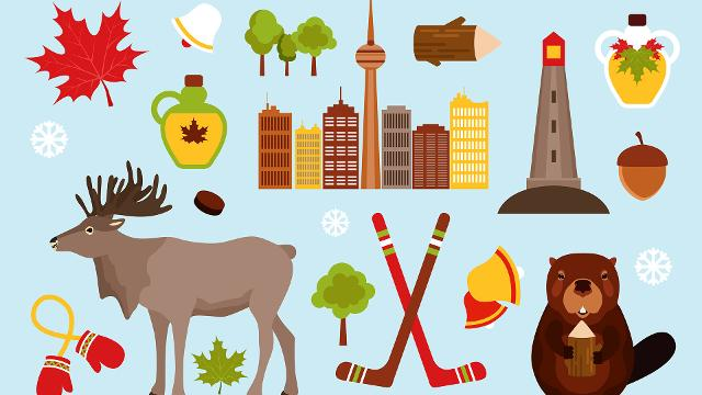 Some of Canada's iconic symbols such as maple leaf, moose, hockey and etc...