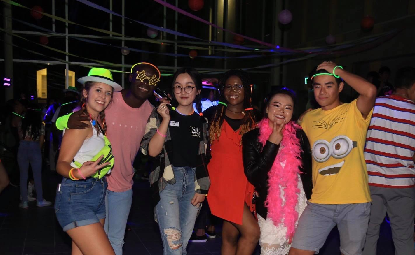 Students at the Neon Dance Party