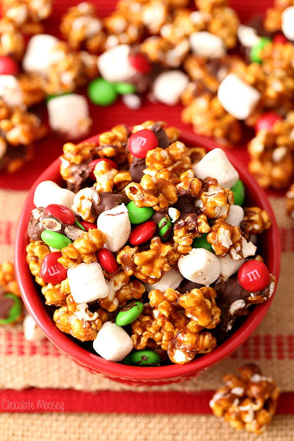 Caramel popcorn with marshmallows and red and green candy