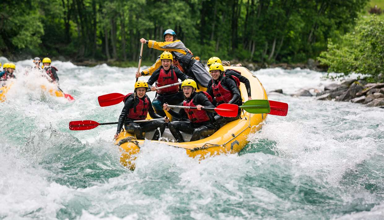 people on rafting boat
