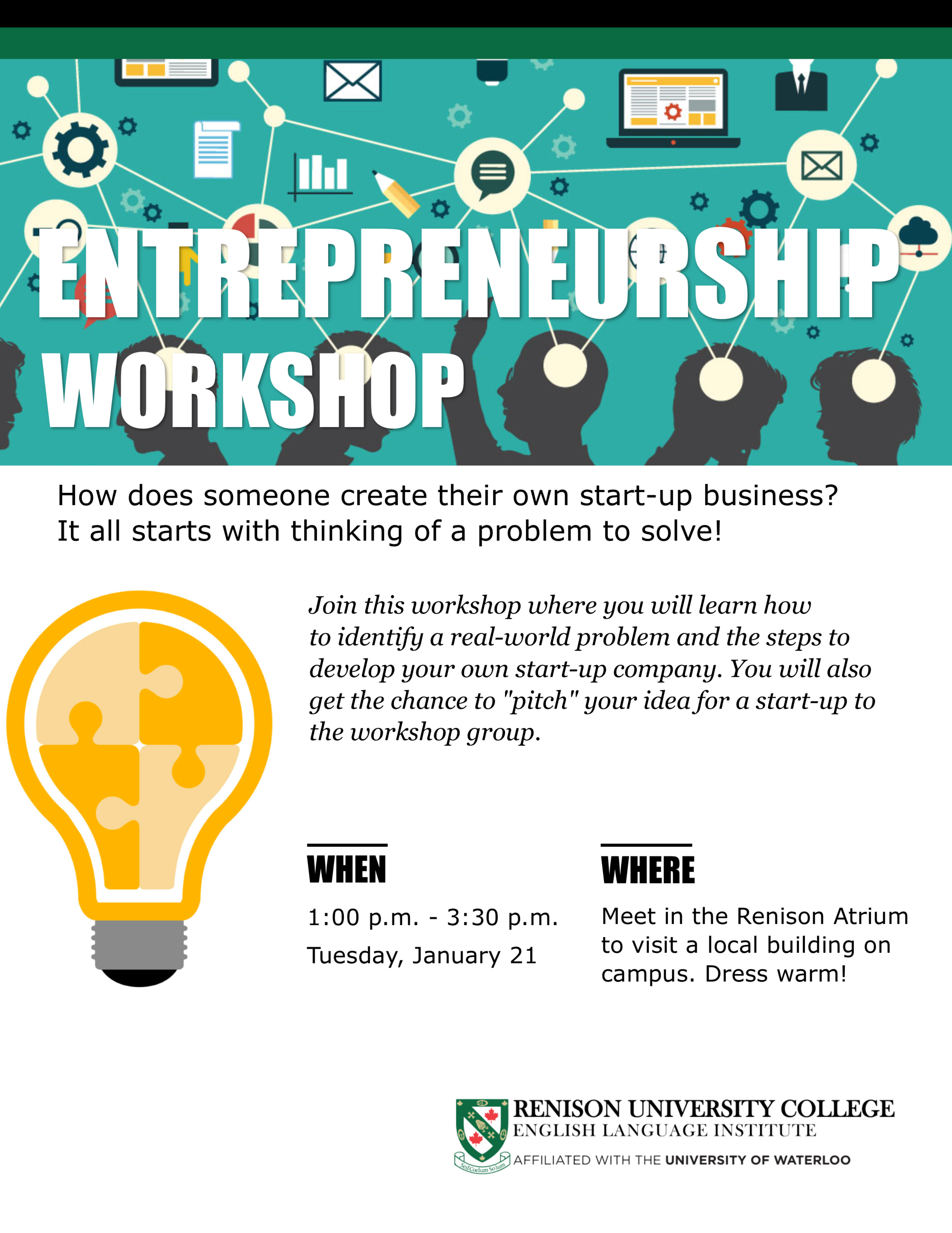 A poster for the entrepreneurship workshop that is on January 21, 2020