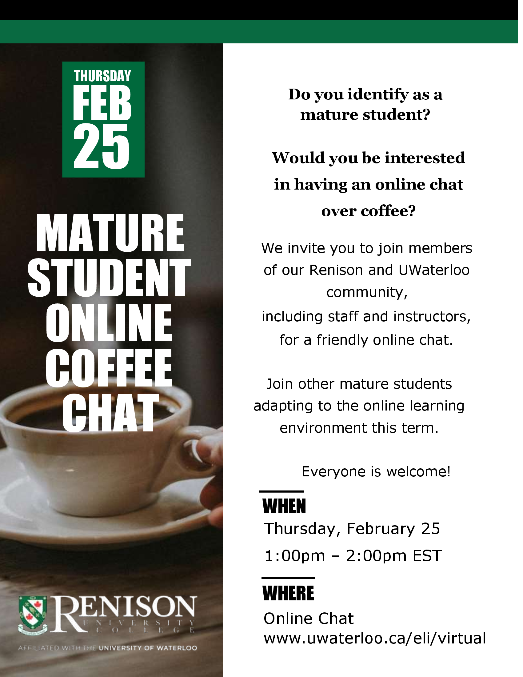 This is a flyer for the Mature Student Coffee Chat hosted by Renison