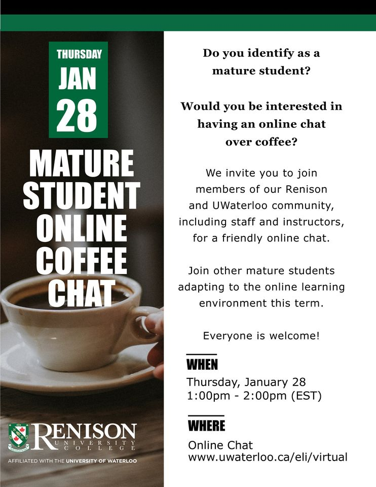 'Mature Student Online Coffee Chat' is displayed over a photo of hot coffee, with more event details on the side.