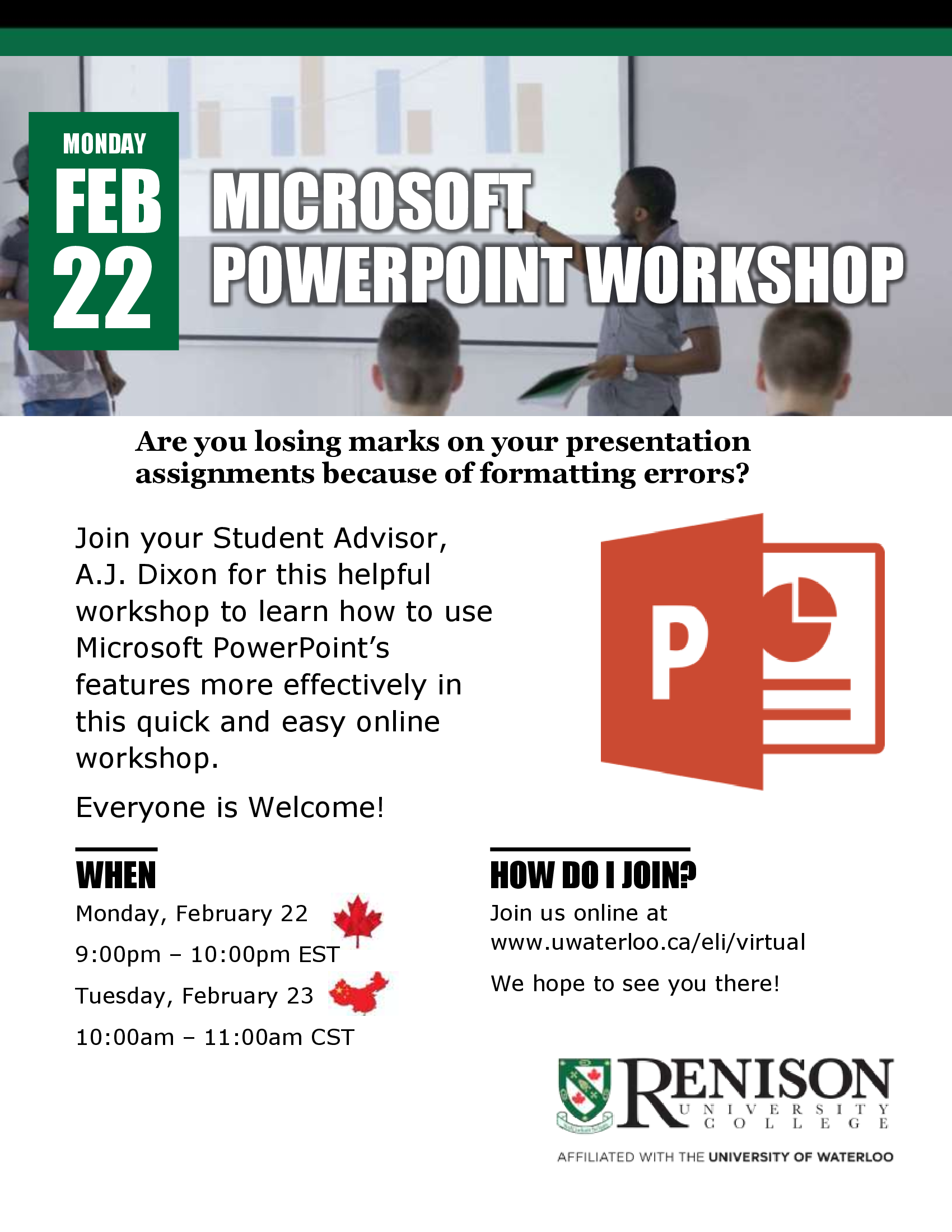 This is a flyer for the PowerPoint Workshop hosted by Renison