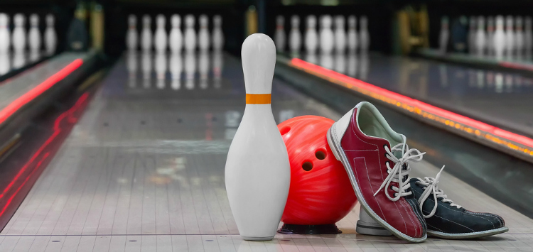 Bowling pin, bowling ball, and bowling shoes.