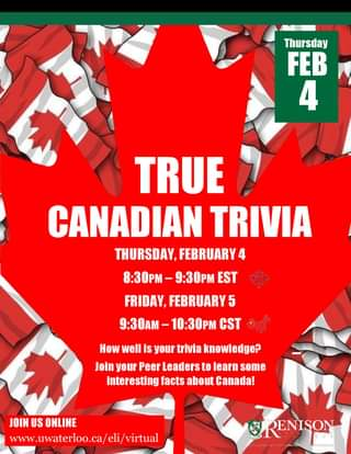 True Canadian Trivia Flyer with Canadian flags in the background and event details.