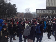 Image of rally in front of U Waterloo's Porter library.