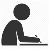 Icon of person writing.