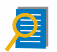 Icon of magnifying glass over document.
