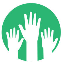 Icon of hands being held up.