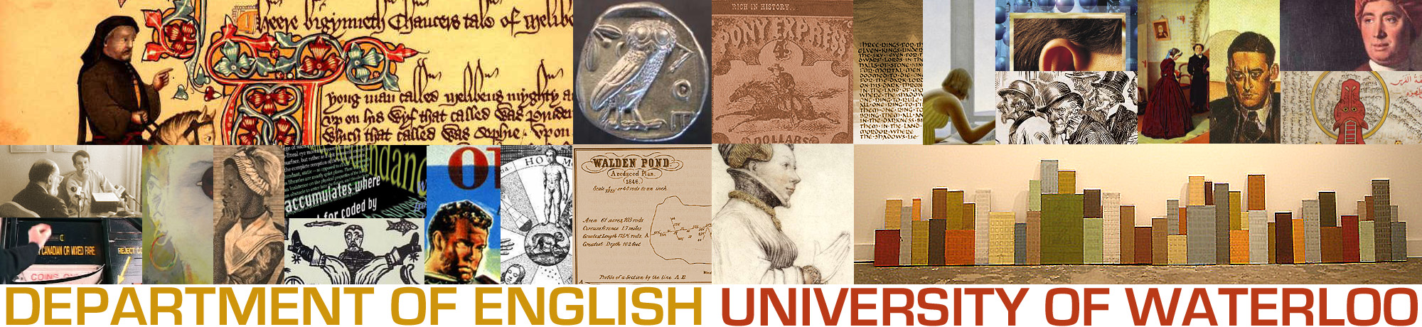 Banner for Waterloo English with a collage of English-related images.