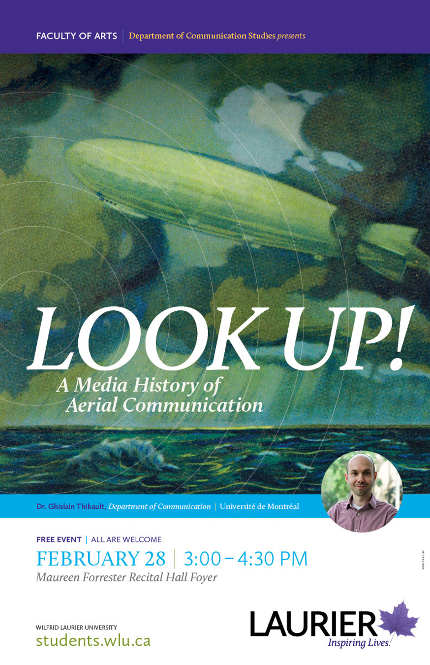 Poster for the talk Look Up! A Media History of Aerial Communication. Painting of a Zeppelin above the ocean.