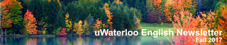 Photo of fall trees and lake with caption uWaterloo English Newsletter, Fall 2017.