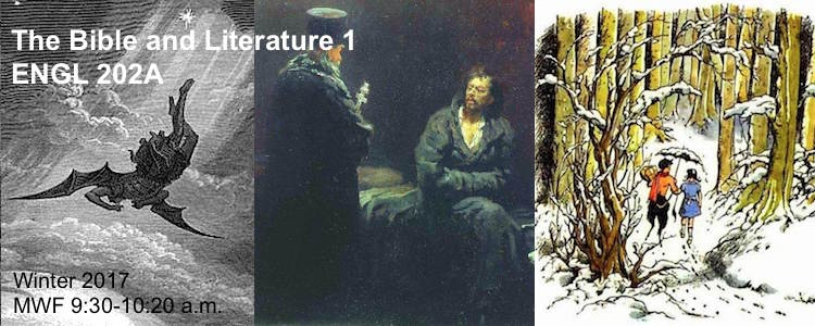 Poster for the Bible and Literature: Satan falling, priest and man talking, faun and girl from narnia