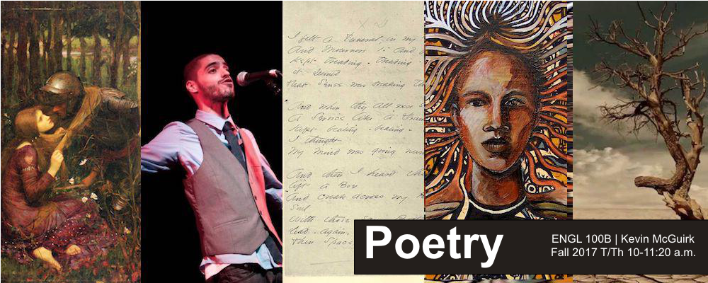 "Collage of images related to Poetry with text ""Poetry: ENGL 100B 