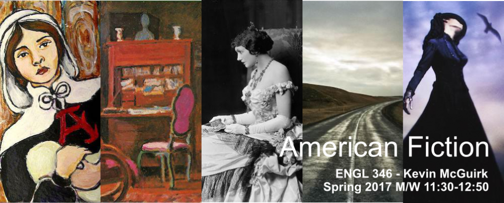 Series of images from book covers for course American Fiction, ENGL 346, with Kevin McGuirk. Spring 2017, Monday and Wed 11:30-1