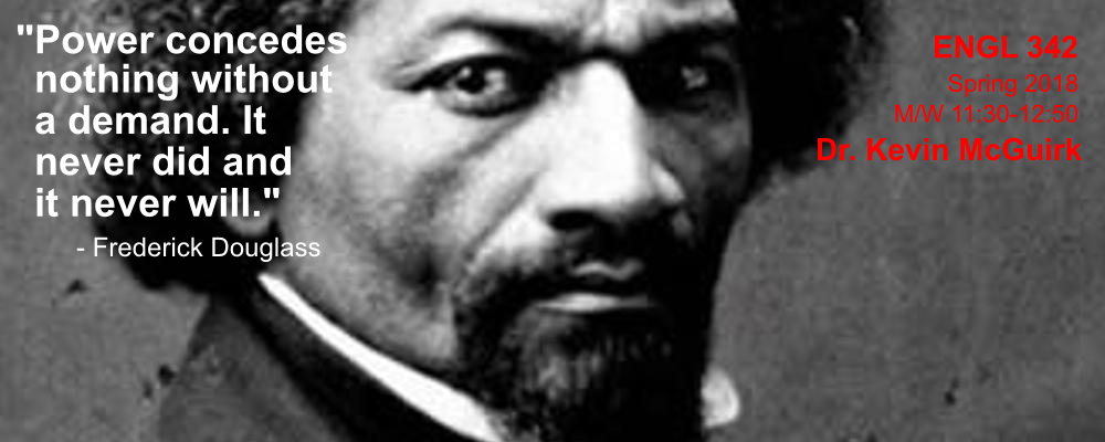 """Photo of Frederick Douglass with quote: """"Power concedes nothing with a demand. It never did and it never will."""""""