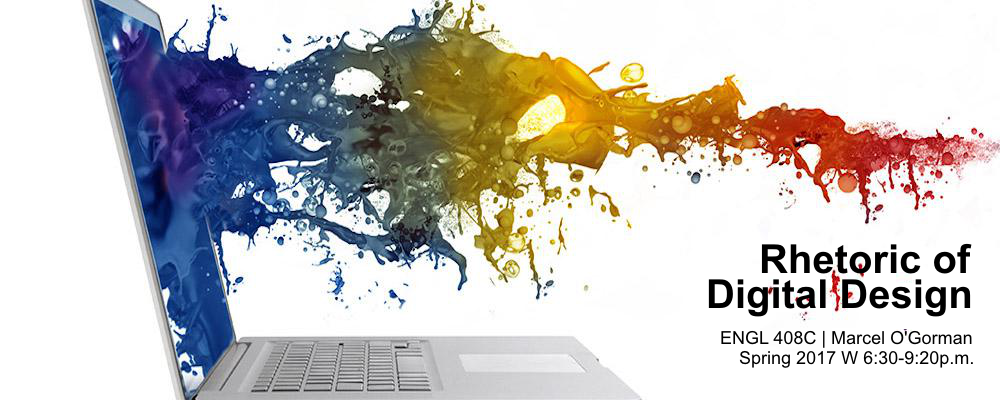Photo of laptop with paint spilling out. Rhetoric of Digital Design (ENGL 408C, Marcel O'Gorman), Spring 2017, Wed 6:30-9:30pm.