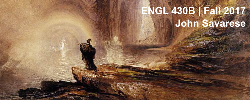Banner for ENGL 430B, Fall 2017, John Savarese: Magician gesturing at glowing figure in cave.
