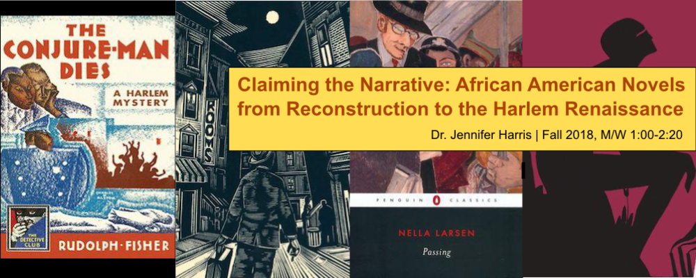 Banner for ENGL 485, Claiming the Narrative: African American Novels. Various book covers.