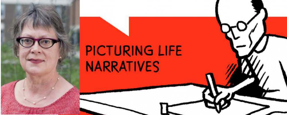 """Photo of Linda Warley with drawing of person drawing and text """"Picturing Life Narratives."""""""