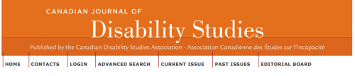 Screenshot of the title of the Canadian Journal of Disability Studies.