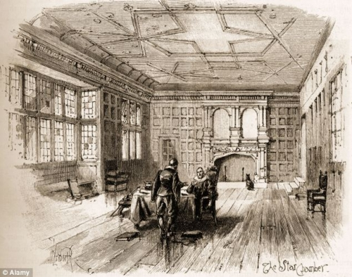 Drawing of the court of star chamber with two men at a desk.