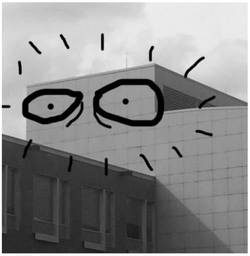 Photo of eyes drawn on Kitchener City Hall.