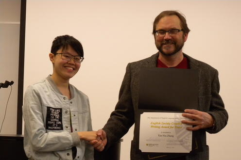 Xin Niu Zhang receives the English Society Creative Writing Award for Prose and the Albert Shaw Poetry Prize from Andrew McMurry