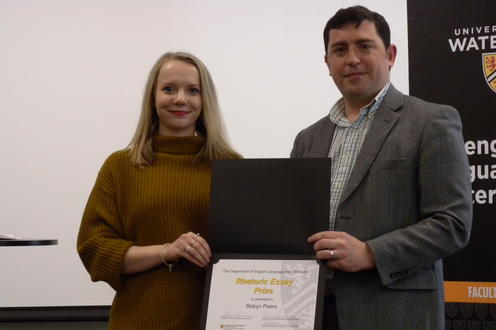 Robyn Peers receives the Rhetoric Essay Prize, MA from John Savarese.