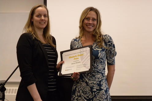 Devon Moriarty receives the Rhetoric Essay Prize, PhD from Jennifer Clary-Lemon.