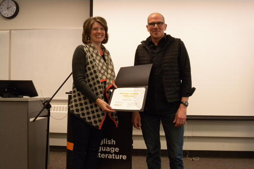 Christin Taylor receives the Jack Gray Fellowship from Marcel O'Gorman