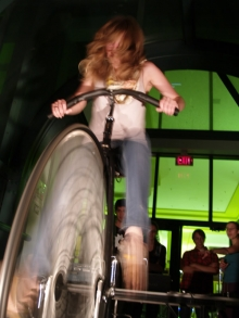 Photo of woman on bicyle